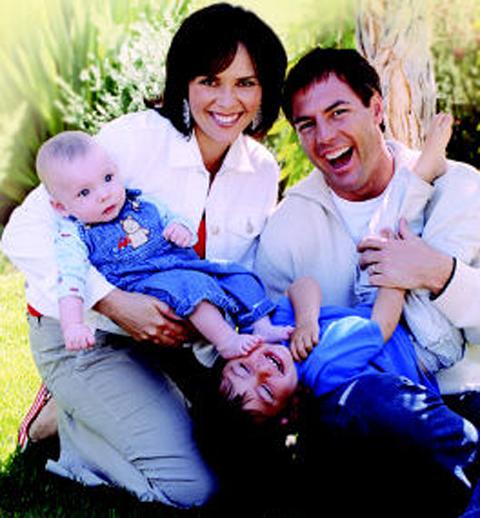 Leanza Cornett and Mark Steines with their children
