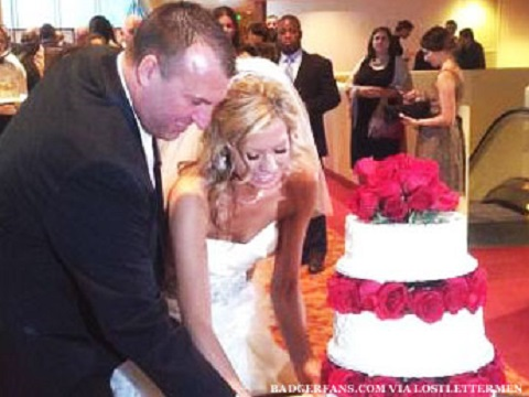 Bret Bielema with Jen Hielsberg on their wedding at Madison in 2012