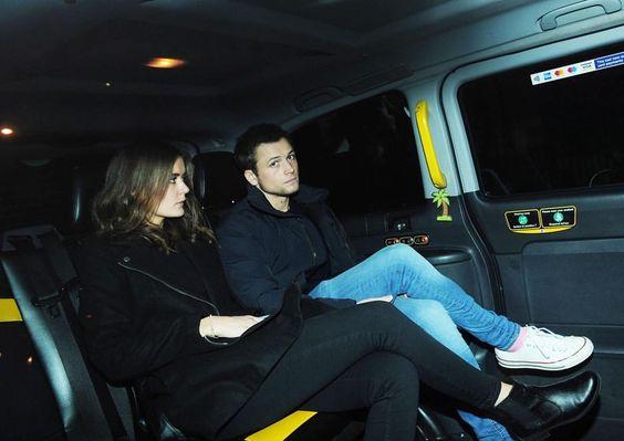 Taron Egerton leaving the Clairidges Hotel in London with his rumored girlfriend Emily Thomas