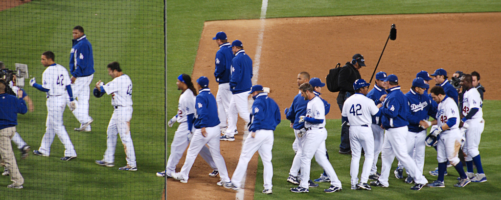 Los Angeles Dodgers players in the field