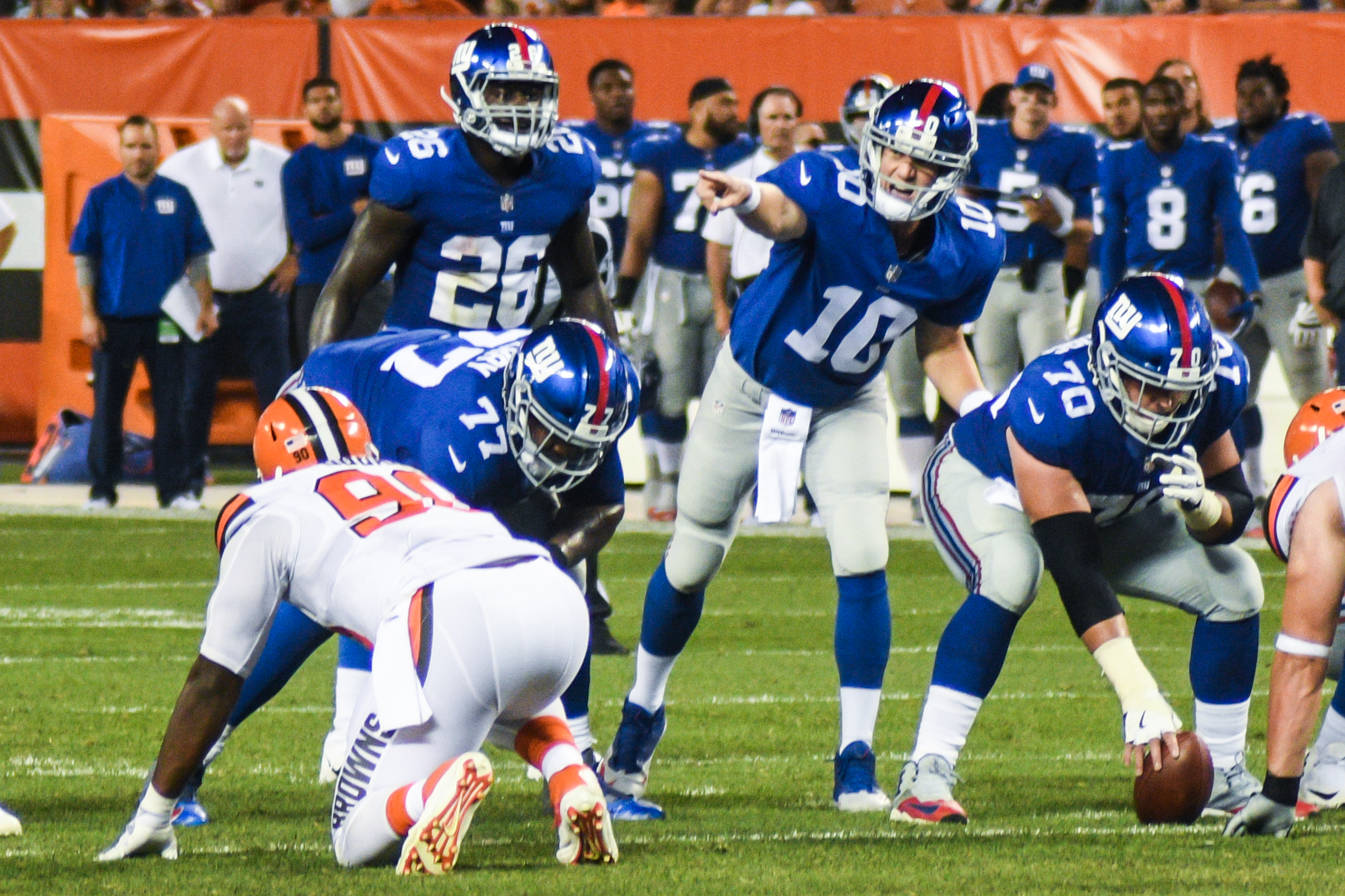 New York Giants in a game against Cleveland Browns.