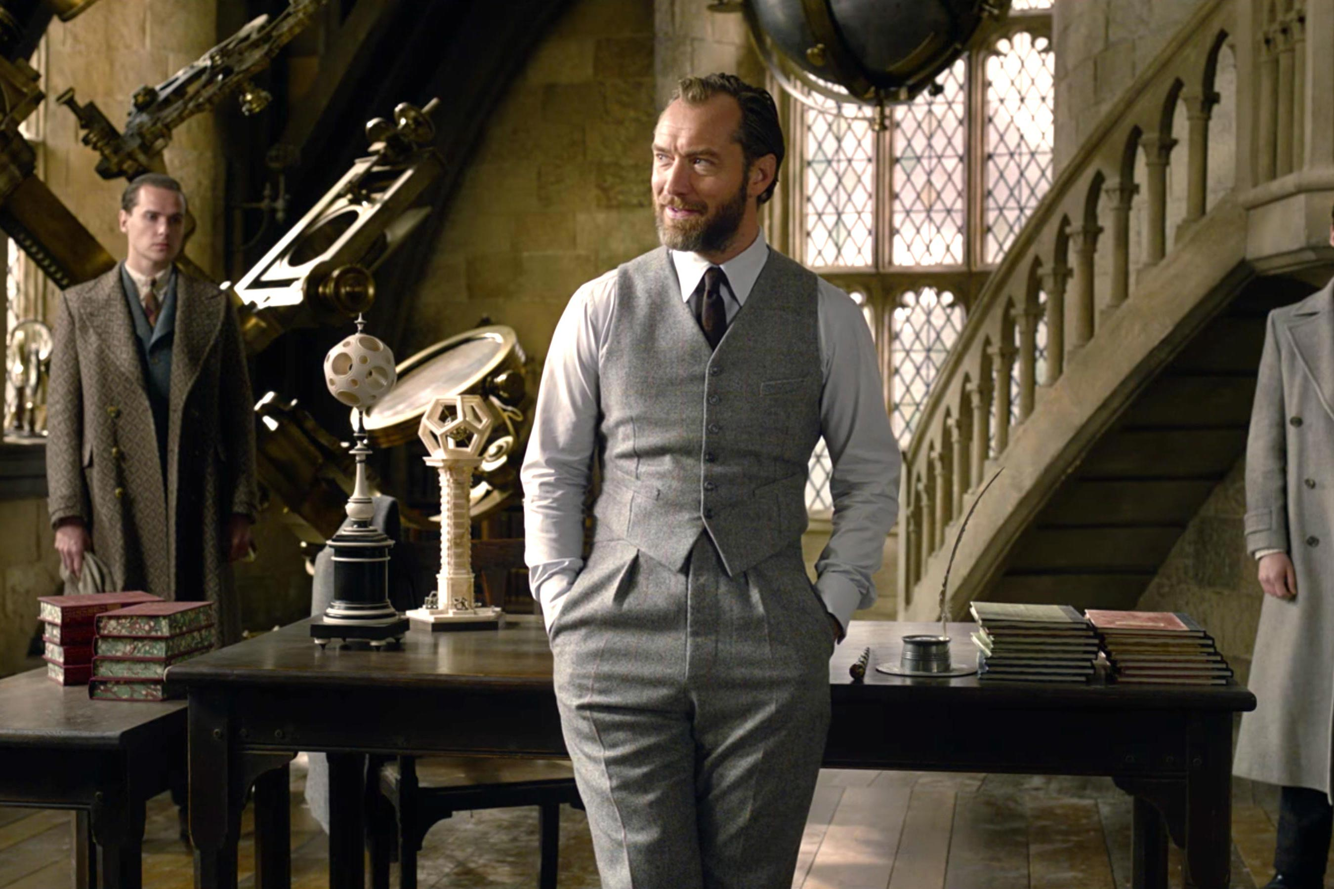 English actor Jude Law as Albus Dumbledore in Fantastic Beasts: Crimes of Grindelwald.
