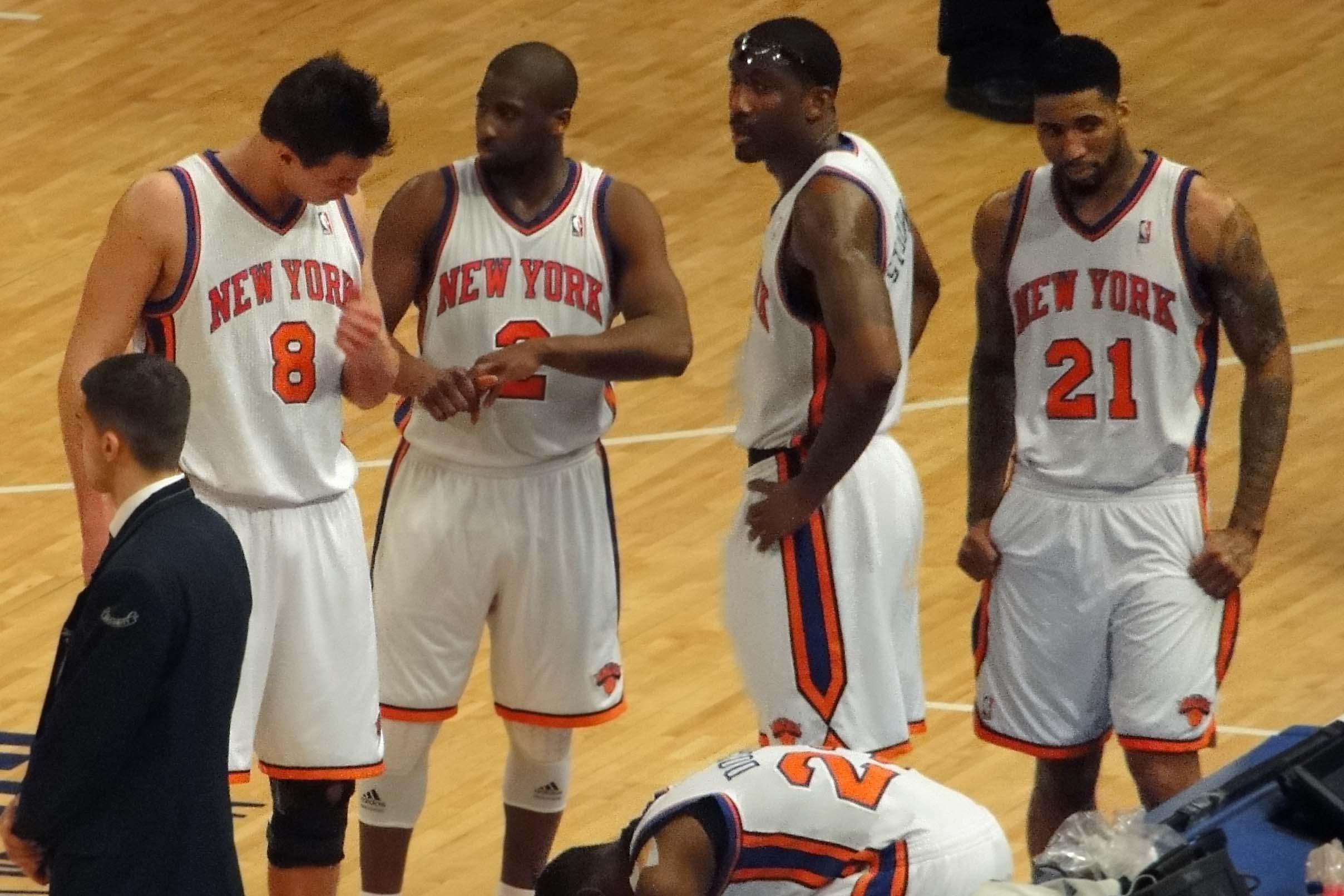 NY Knicks players Raymond Felton, Danilo Gallinari, Wilson Chandler, Amar'e Stoudemire and Toney Douglas during a game against Miami Heat.
