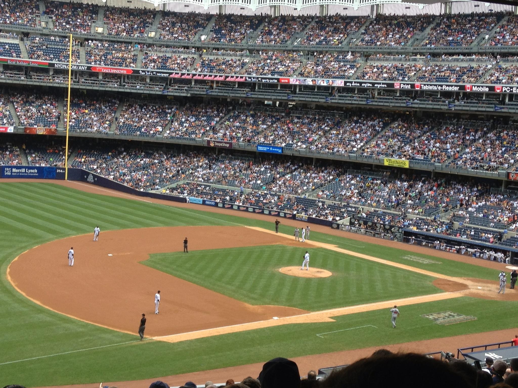 New York Yankees during a game in Yankee Stadium