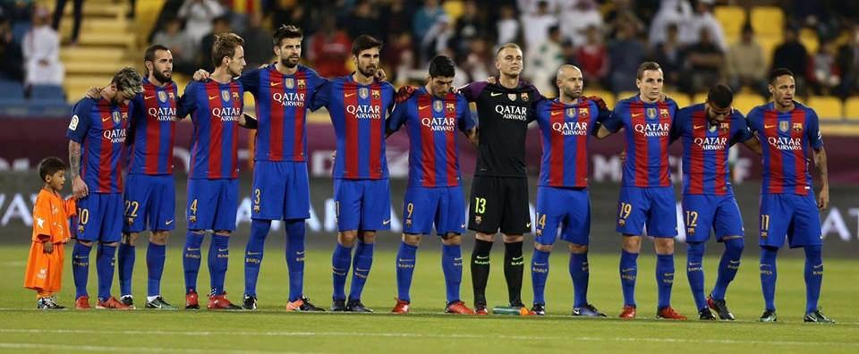 2016-17 Line-Up of FC Barcelona in UEFA Champions League with Afghan superfan boy Murtaza Ahmadi.