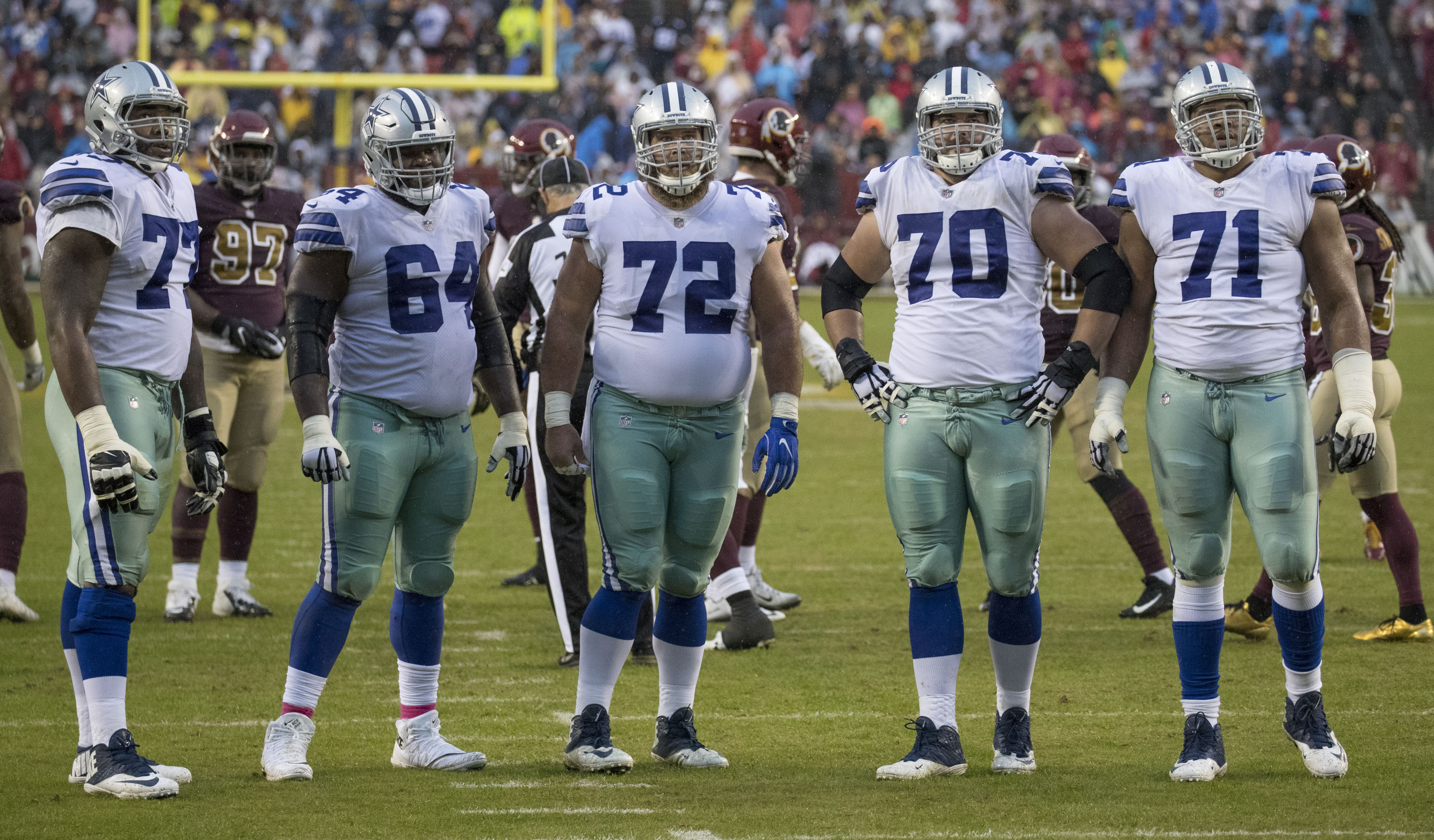 Dallas Cowboys offensive line vs Washington Redskins in October 2017.