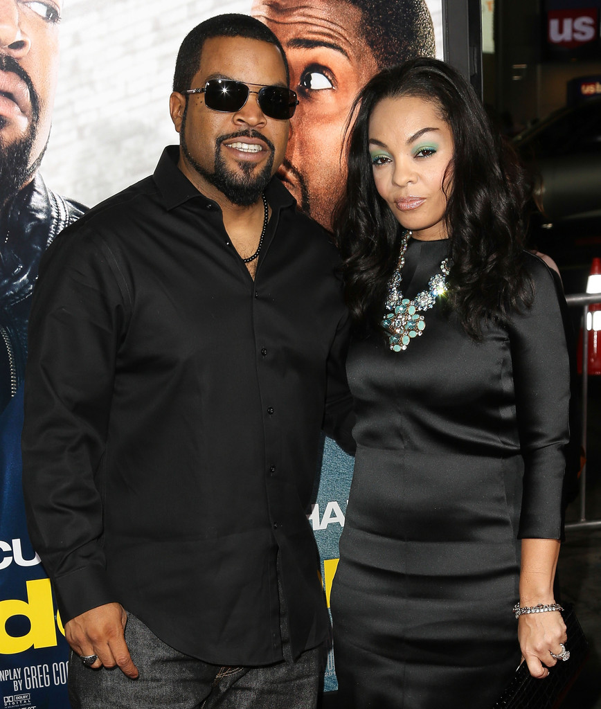 Ice Cube with her wife in Kimberly Woodruff in an event