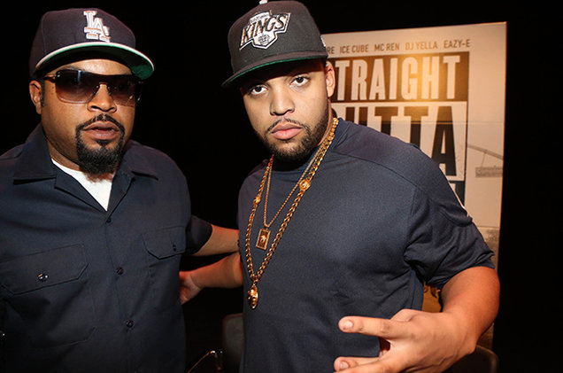 Ice Cube with his elder son during screening for Straight Outta Compton