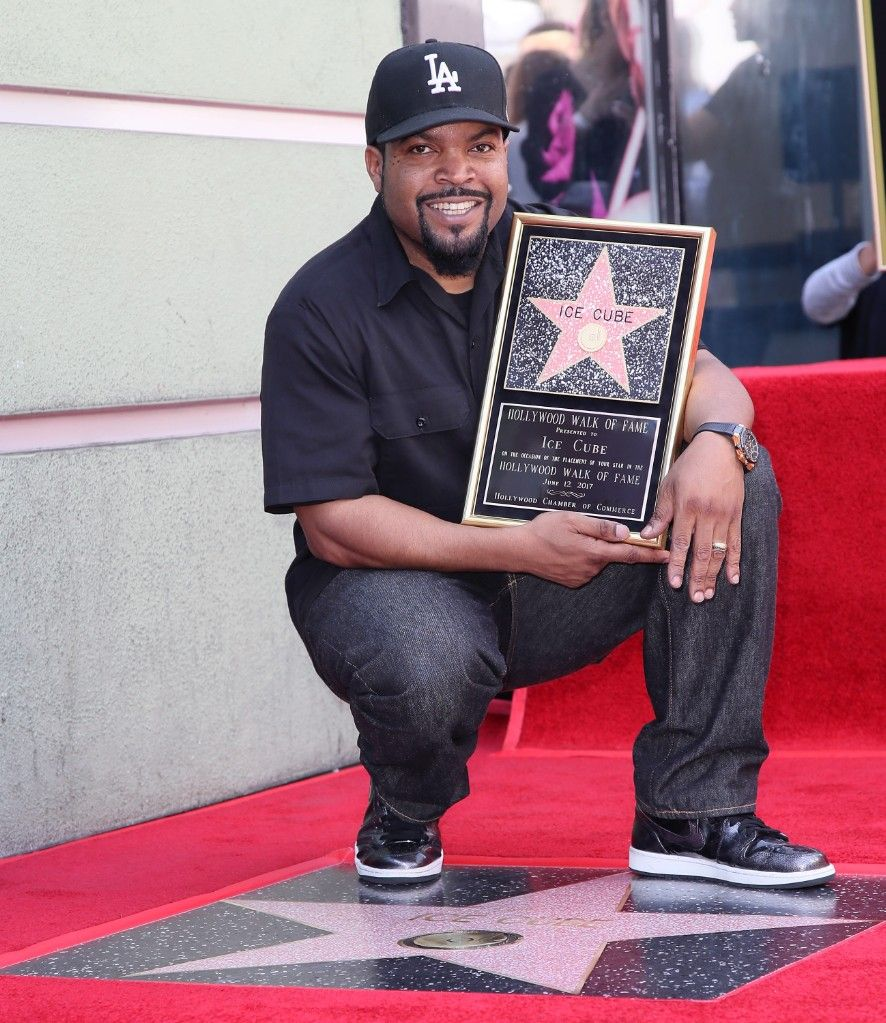 Ice Cube posing after being awarded with Star on Hollywood Walk of Fame