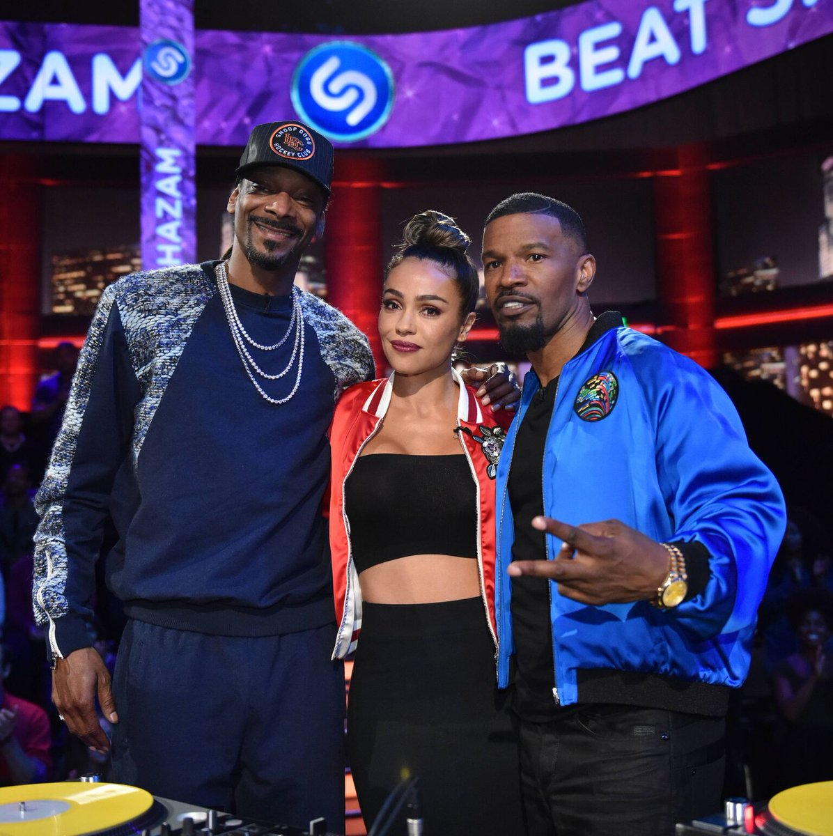 October Gonzalez on the set of Beat Shazam with Jamie Foxx and Snoop Dogg