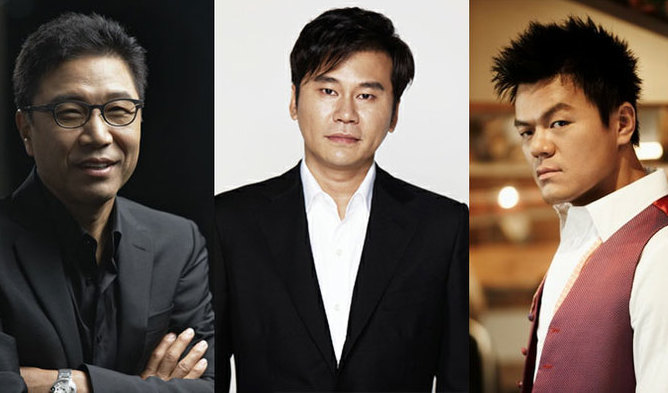 Collage of three founders of big music studios in South Korea.