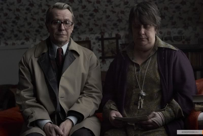 Gary Oldman as George Smiley and Kathy Burke as Connie Sachs in the movie, Tinker Tailor Soldier Spy.