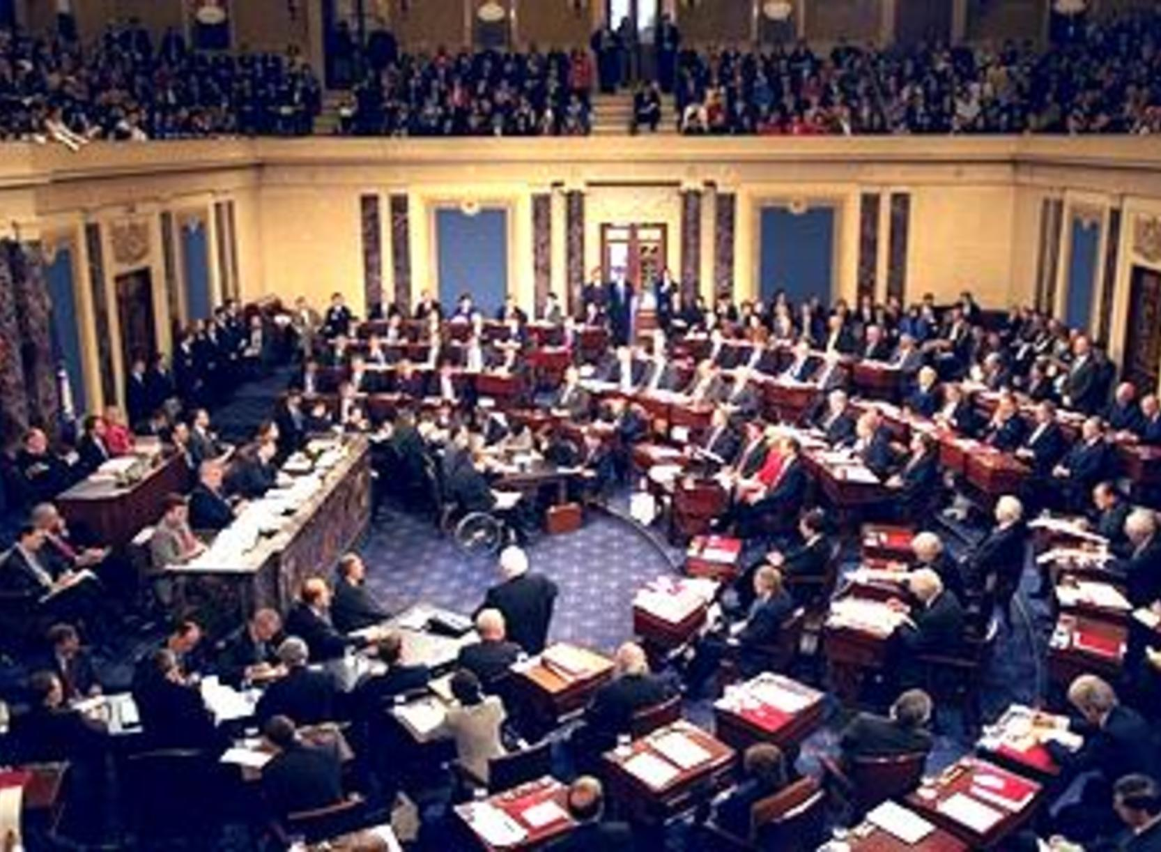 Proceedings in session during the impeachment trial of President Bill Clinton.