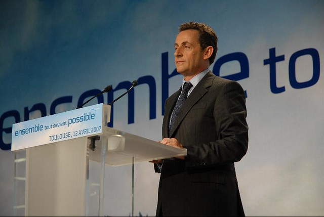 French President Nicolas Sarkozy addresses a crowd in Toulouse, France.