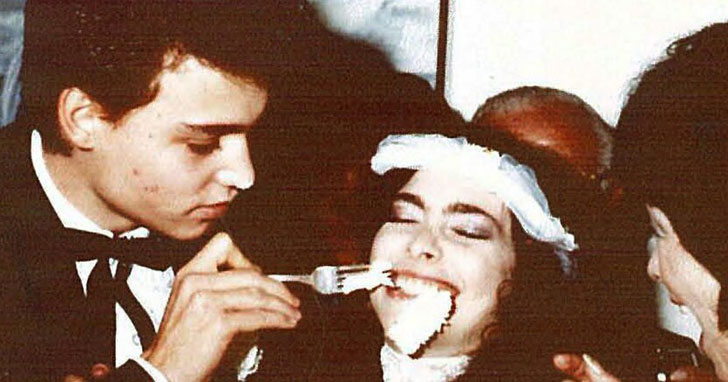 Johnny Depp and Lori Anne Allison in their wedding